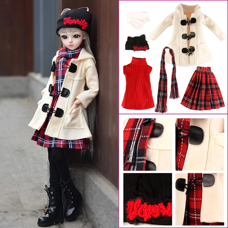 Комплект одежды для кукол, платье, аксессуары для 60 см, 1/3 шарнирная кукла, полный комплект одежды для девочек, кукла «сделай сам», аксессуары...