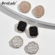 Meilleur Lady Ba coloré bouton boucles doreilles pour les femmes Bling Bling cristal luxe haute qualité boucles doreilles Brincos mode fête cadeau