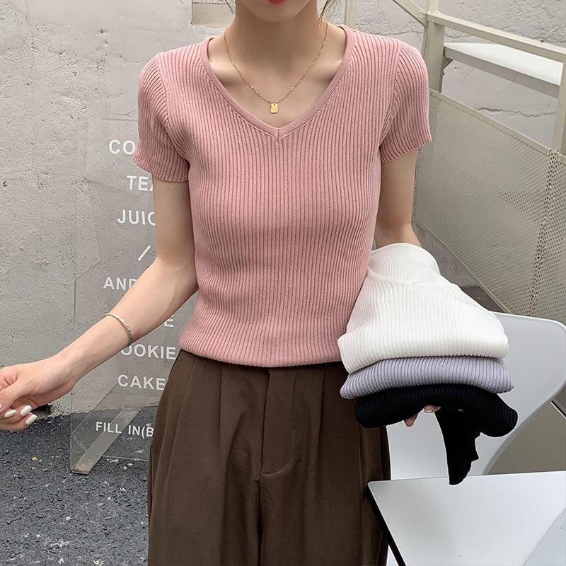 Crescent City Knitted V-neck Short-Sleeved T-shirt Women's Summer Korean Chic Skinny Slimming Pure C