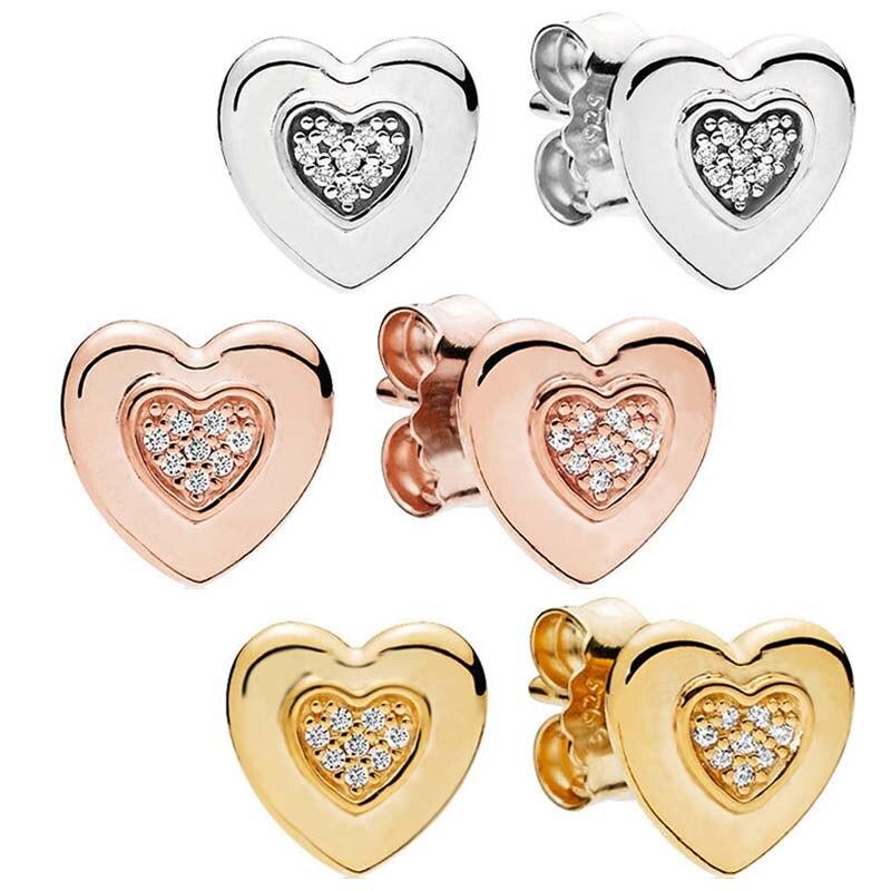 Auténtica Plata de Ley 925 pendiente de corazón con logotipo de rosa con pendiente de cristal para mujer regalo de boda joyería fina Diy