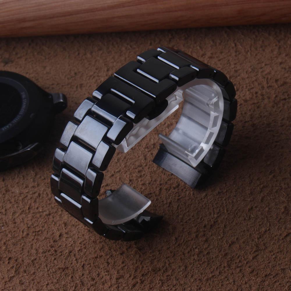 Pulseira de Cerâmica para Relógios de Pulso Pulseira de Cinta de Banda Inteligente Apto Samsung Engrenagem Frontier 22mm Preto Polido Acessórios Fecho s3