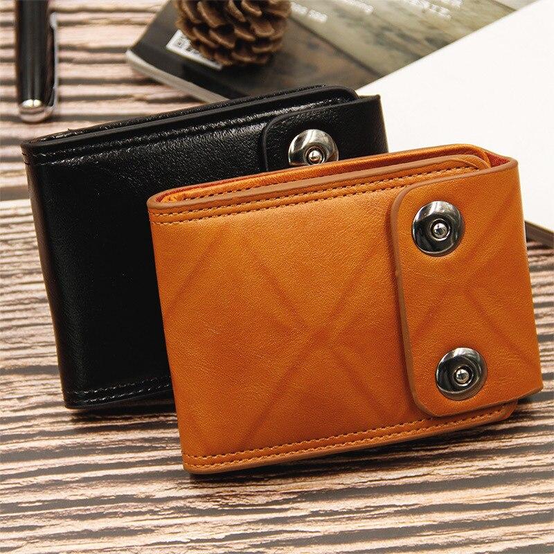 Billeteras Vintage 2020 para hombre, bolso de mano de cuero, monedero de lujo para hombre, monedero corto ajustado para hombre, cartera para hombre