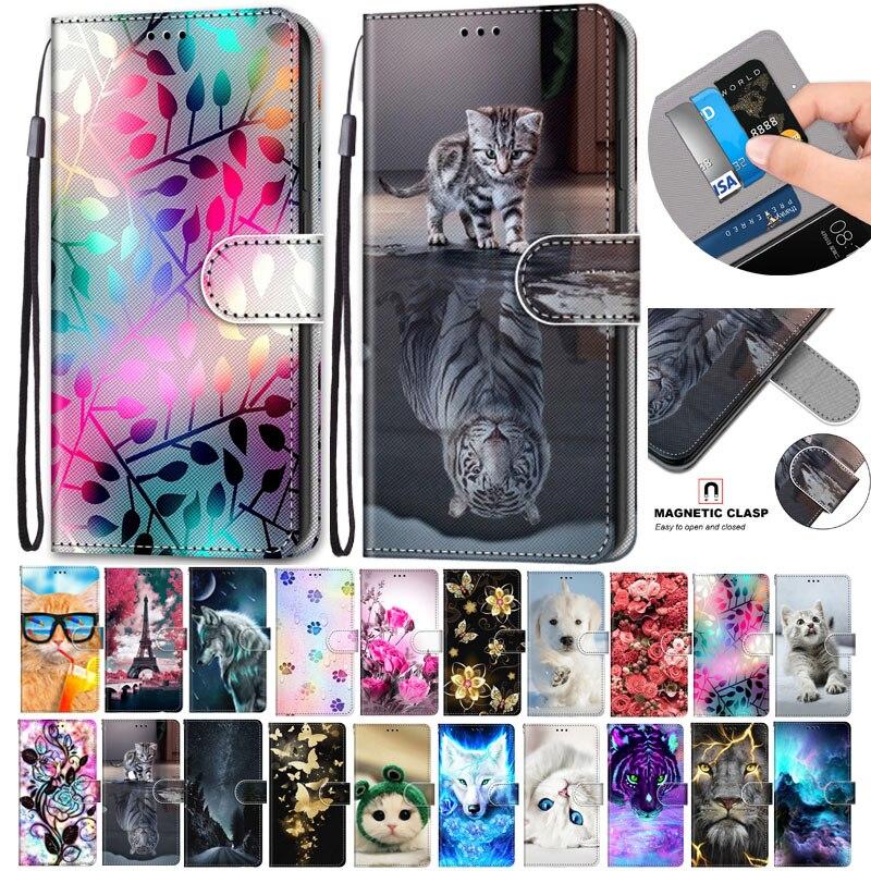Funda de cuero abatible para Samsung Galaxy A51 Fundas 3D cartera tarjetero soporte cubierta de libro León Tigre pintado teléfono Coque A51 Fundas