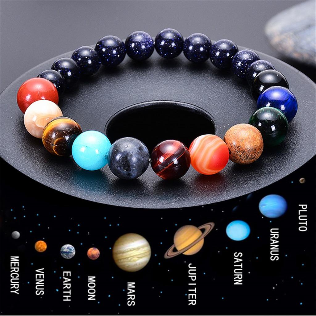Natural Crystal Stone Beads Bracelet Universe Eight Plants Galaxy Solar System Bangle Bracelets for Men or Women Dropship