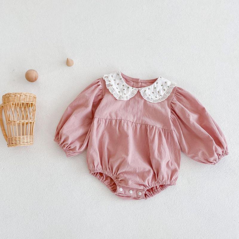 Новинка 2021, осенняя одежда для малышей, модное боди с длинным рукавом для новорожденных, однотонный комбинезон для маленьких девочек, хлопк...