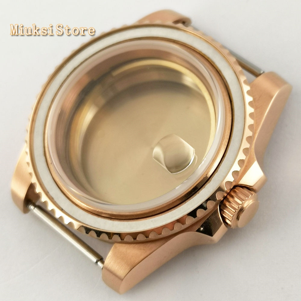 Caja de acero inoxidable 316L sólido oro rosa de cristal de zafiro de 40mm para ETA 2836 Mingzhu DG2813,3804, movimiento Miyota 8215