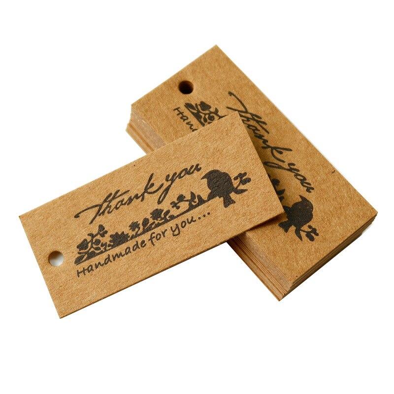 50 pçs retro pássaro obrigado você brown etiquetas de papel feito à mão para você pingente caixa de presente cozimento decorativo papel pendurar tags para desejos cartão