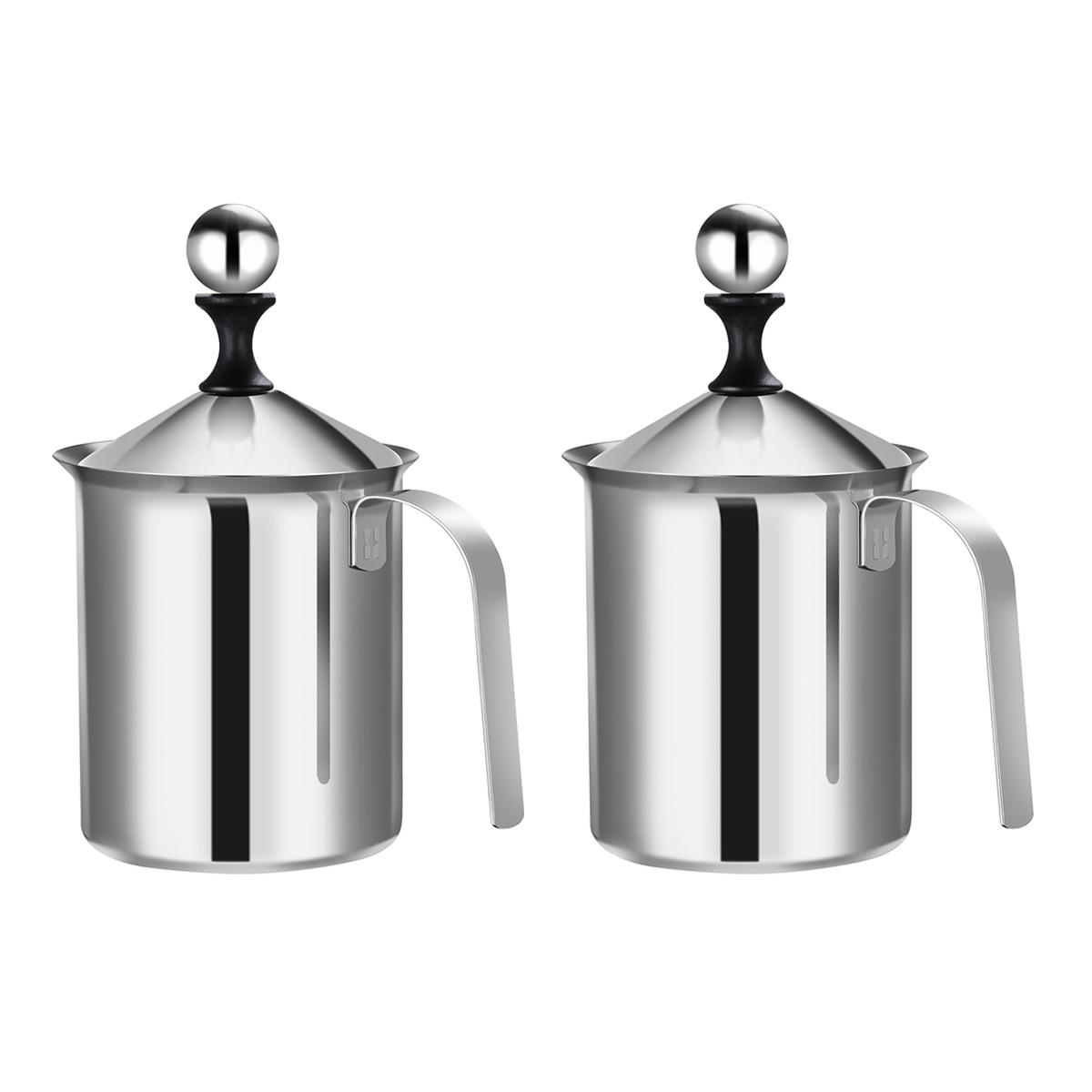 2 قطعة مصفاة مزدوجة الفولاذ المقاوم للصدأ رغوة Frothing إبريق دليل Frother أواني القهوة (800CC)