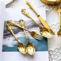 golden cutlery wedding tableware gold dinnerware retro vintage stainless steel dinner knife coffee spoondessert fork teaspoon