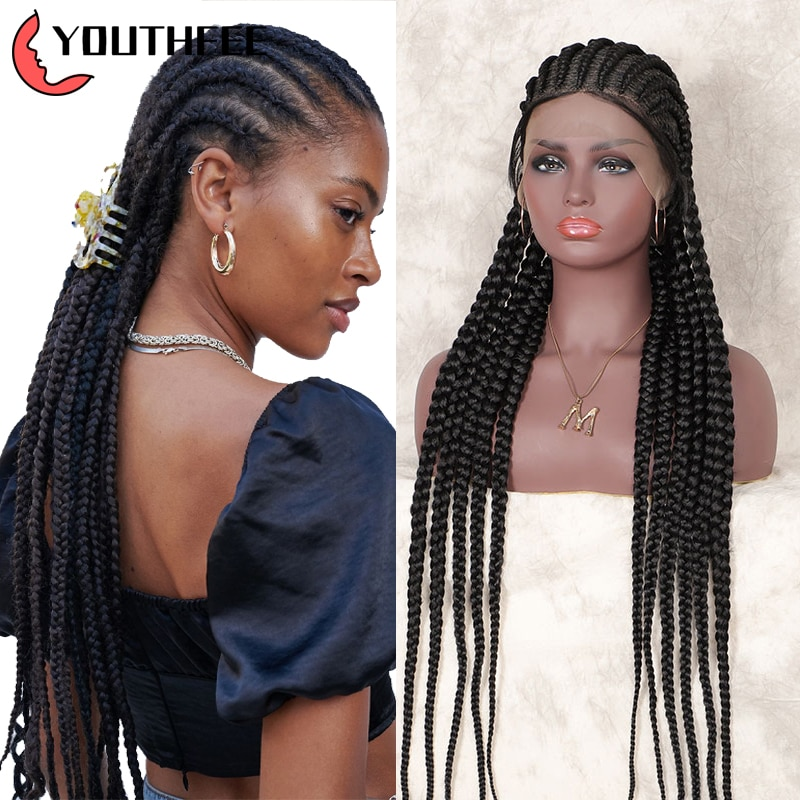 Youthfee Braided Wigs Synthetic Full Lace Wigs 33