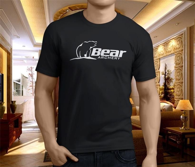 Novo urso de tiro com arco preto camisa masculina tamanho S-3XL oversized topos camiseta