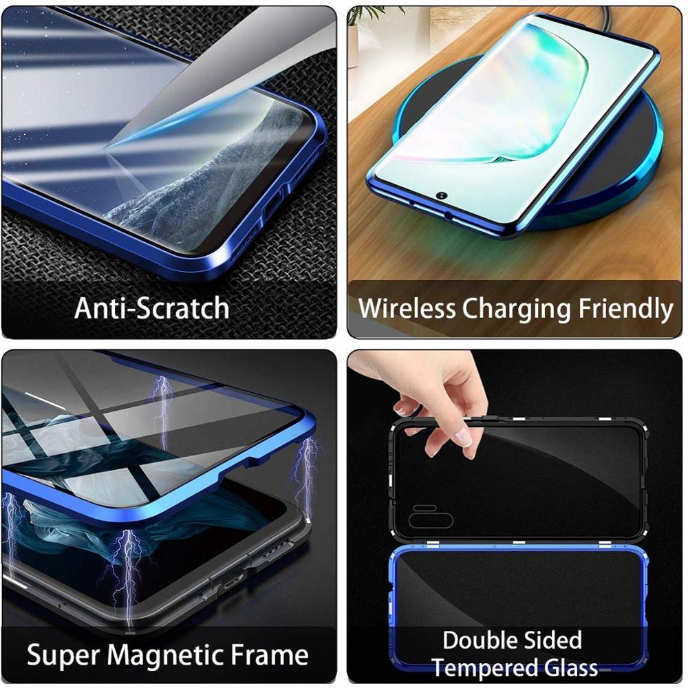 Купить с кэшбэком Magnetic Case For Samsung Galaxy A50 A70 S21 A30 A32 A52 A31 M31 A11 A50s A72 M30 M11 A71 A51 A81 Tempered Glass Metal Cover