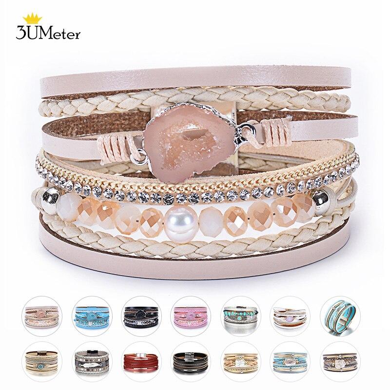Pulsera de moda con perlas Boho pulsera de cuero multicapa cuentas de cristal naturales pulseras de diamantes de imitación brazalete para mujeres regalos