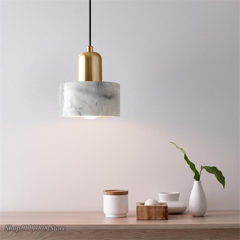 Nordic Marble Led Pendant Lights Modern Simple Art Bedroom Bedside Single Head Hanging Lamp Creative Dining room Decor Luminaire