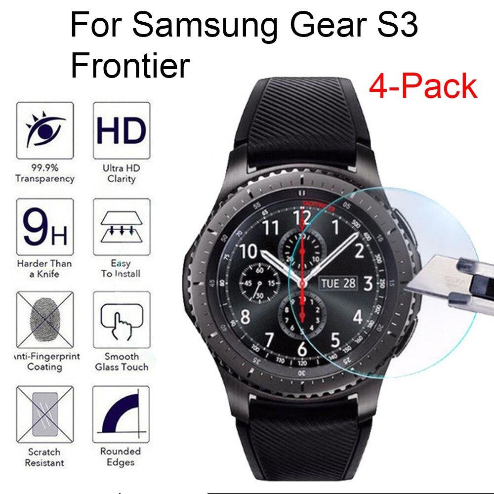 4 Uds Smart watch Pantalla de vidrio templado para Samsung Gear S3 Frontier 9H película protectora de pantalla de vidrio templado