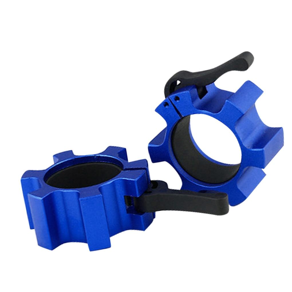1 par de Spinlock collares de aleación de aluminio de la barra de cerradura de Collar Dumbell Clips pinza de levantamiento de pesas mancuernas de gimnasio de equipos de Fitness