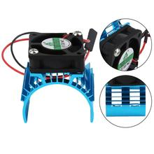 Blue RC Parts Electric Car Brushless Motor Heatsink Cover + Cooling Fan For 1:10 HSP RC Car 540 550