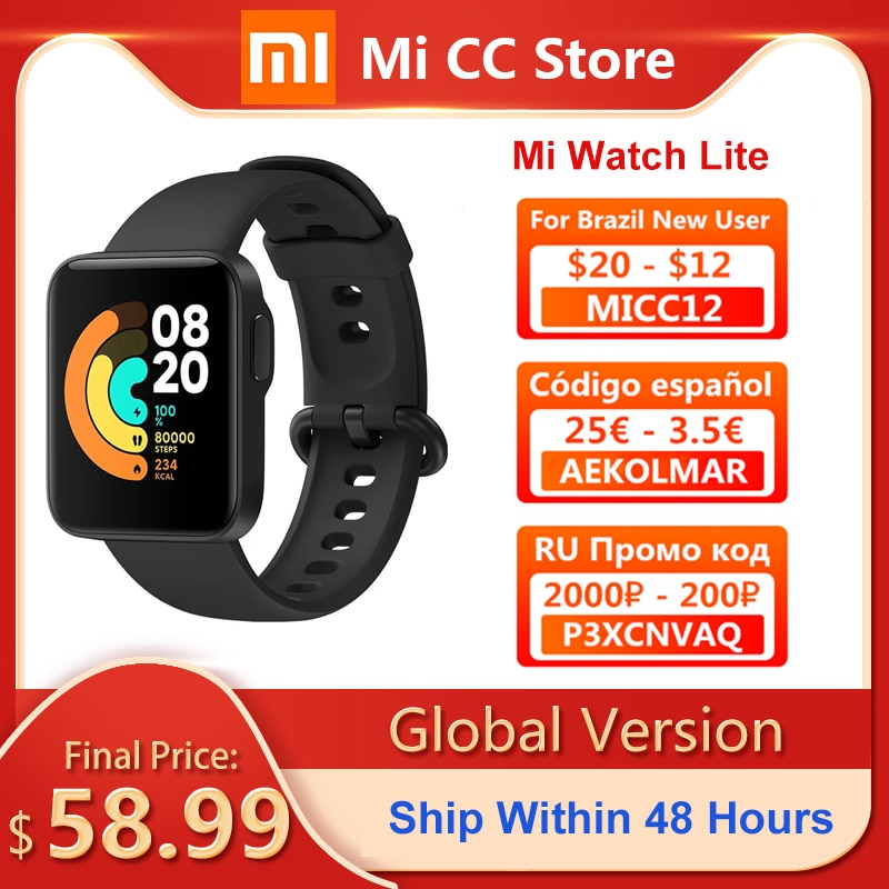 Xiaomi Mi Watch Lite Global Version GPS Fitness Tracker Heart Rate Monitor 1.4 Inch Bluetooth 5.0 Smartwatch Sport Bracelet