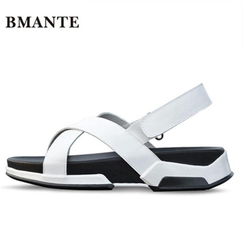 Bmante/мужские пляжные сандалии из натуральной кожи Классические шлепанцы в
