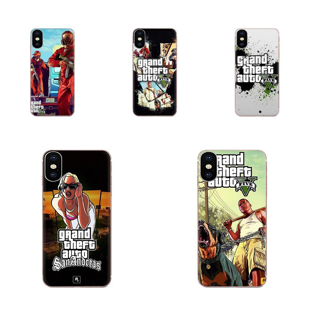 Gta 5 Grand Theft Soft TPU Pattern Phone For Samsung Galaxy Note 5 8 9 S3 S4 S5 S6 S7 S8 S9 S10 5G mini Edge Plus Lite