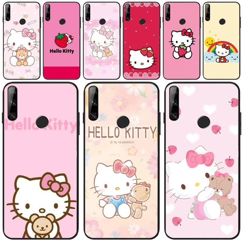 Delicada rosa Hello Kitty de silicona suave negro Funda del teléfono para Huawei Y5 Y6 Y7 Y9 primer Pro II 2019, 2018 Honor 8 8X 9 lite View9