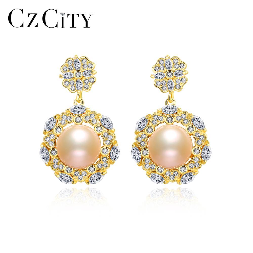 CZCITY Natural Pearls Drop Earrings for Women 100% 925 Sterling Silver Flower-Shaped Fine Trendy Jew