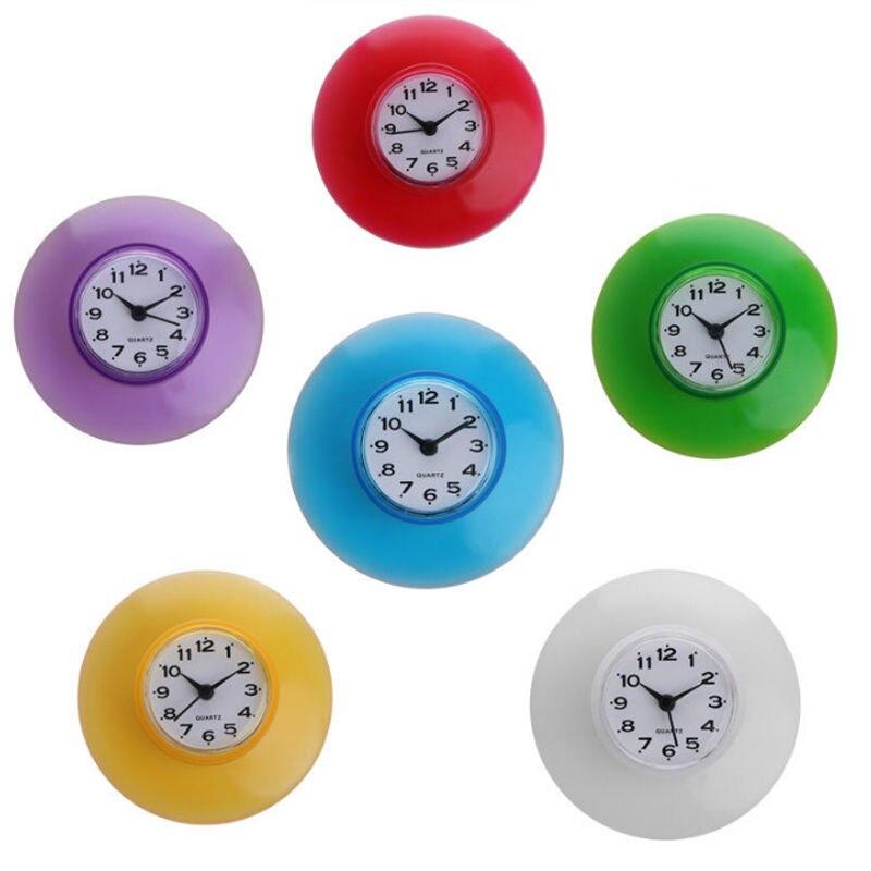 Водонепроницаемые часы на присоске для кухни, ванной и душа, настенные украшения с батареей, бесплатная доставка