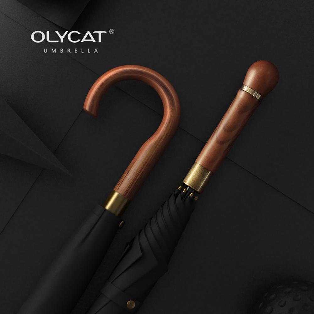 OLYCAT New Wooden Long Umbrella Men Business Vintage Big Golf Umbrellas Wind Resistant Simple Outdoo
