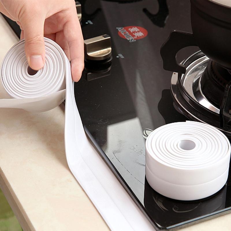 1 rollo de Material de PVC, selladores de cinta de sellado de pared de baño de cocina, cinta autoadhesiva impermeable a prueba de moho, 3,2 m x 2,2 cm, gran oferta
