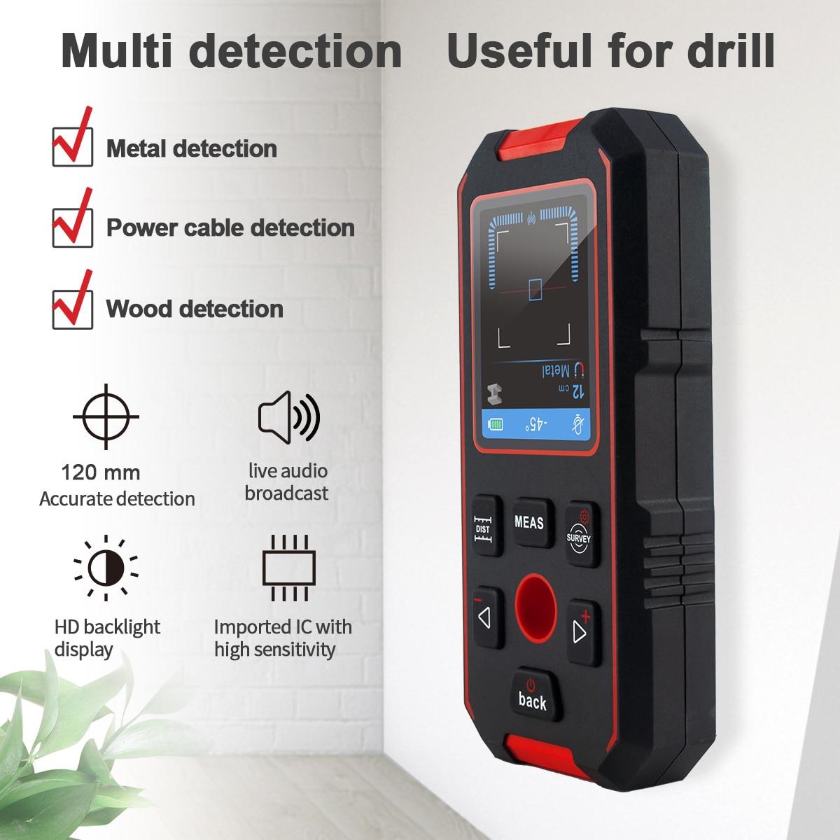 الليزر الذكية Rangefinder متعددة الوظائف مقياس مسافات الجدار الإلكترونية عمق كاشف الجدار الماسح الضوئي للكشف عن المعادن الخشب المعادن
