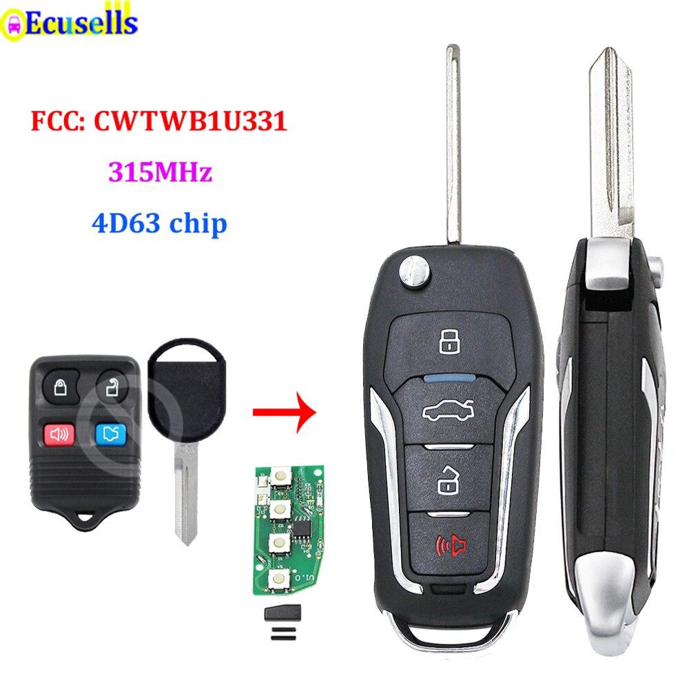 Atualizado 4 botões flip remoto chave 315 mhz 4d63 80bits chip para ford borda foco para lincoln para mercúrio fcc cwtwb1u331 h75 lâmina