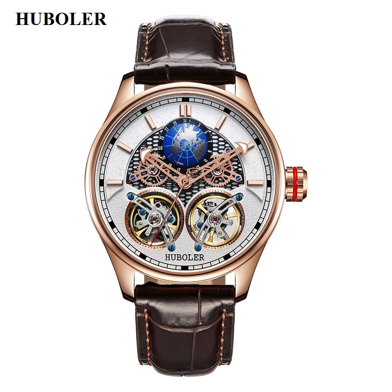 Reloj mecánico automático para hombre, relojes Tourbillon dobles, relojes de marca de diseñador de lujo para hombre, relojes impermeables de acero inoxidable