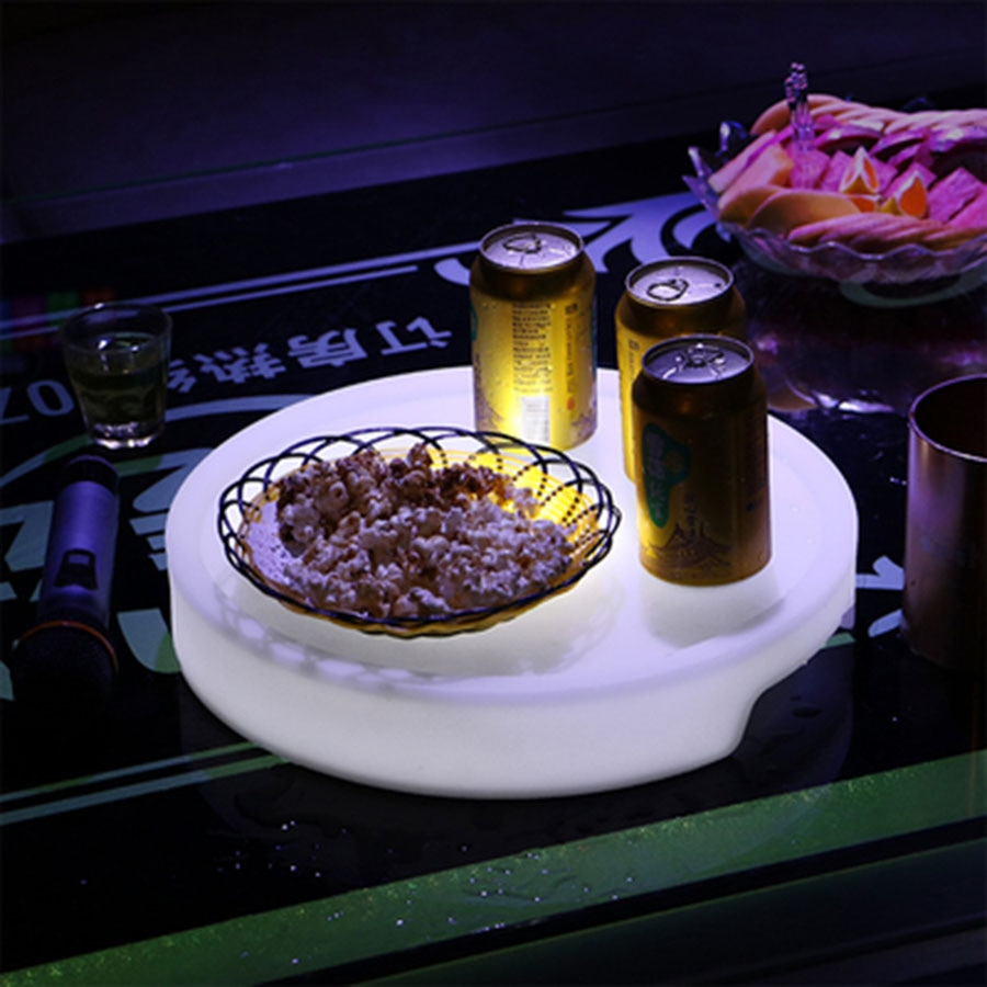 16 Color Changeable LED Illuminated Serving Tray Light Square&Round USB Rechargeable Fruit Drinks KTV Bar Tray Light With Remote enlarge