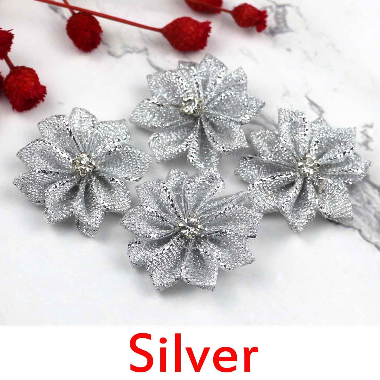 Lulang 24 unids/lote de flores de cinta de satén de 1,18 pulgadas para manualidades de boda adorno de costura apliques (Plata) cinta con brillo flor