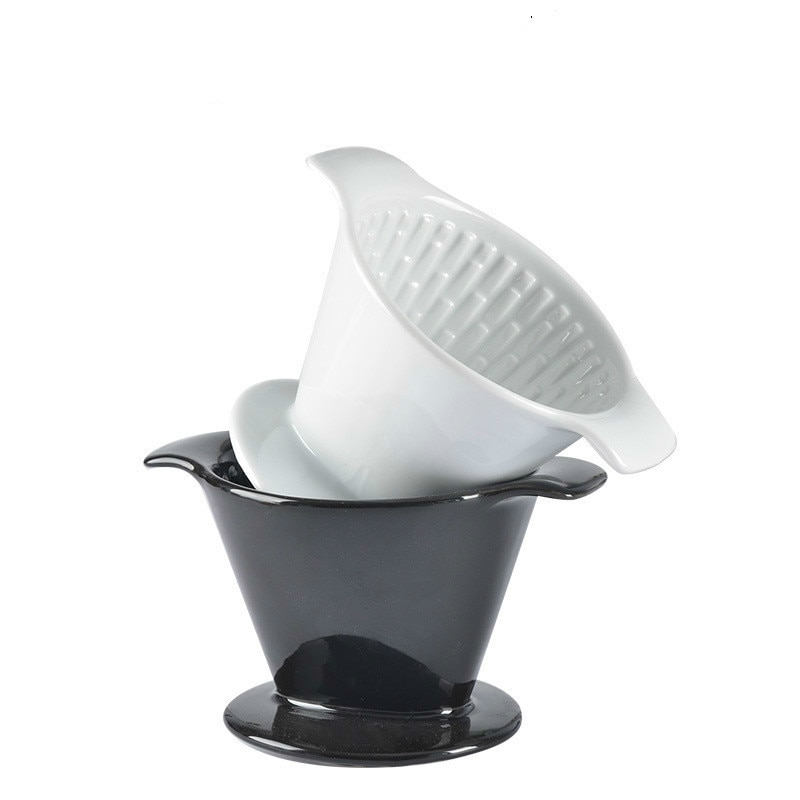 V60 نمط السيراميك 2 إلى 4 شخص سميكة بالتنقيط تصفية كوب فلتر القهوة ، السيراميك اليدوية فنجان القهوة مروحة على شكل أربعة ثقوب