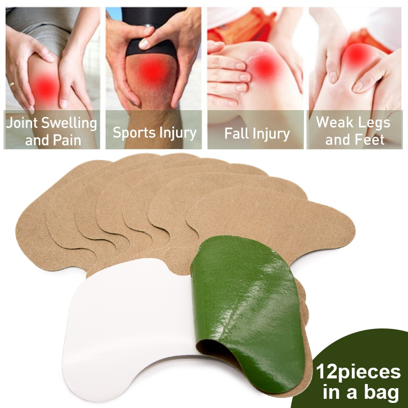Sumifun 12 шт., два вида, коленный пластырь из полыни, экстракт от боли в колене, ревматоидного артрита, китайский травяной медицинский пластырь