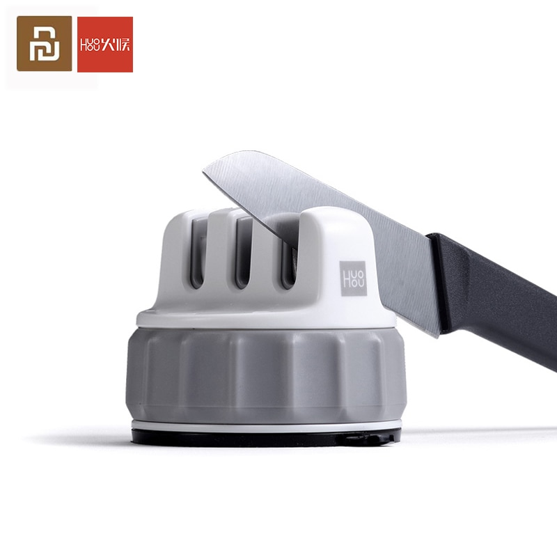 Youpin huohuo fixable afiar pedra roda trible pedra de amolar super sucção faca afiador ferramenta de afiação ferramenta de cozinha