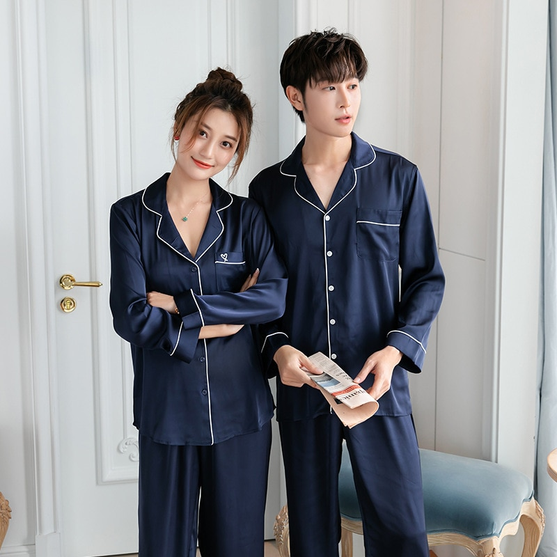 Dull Silk Pajamas for Men Long Sleeve Satin Pajamas Set Chinese Silk Sleepwear