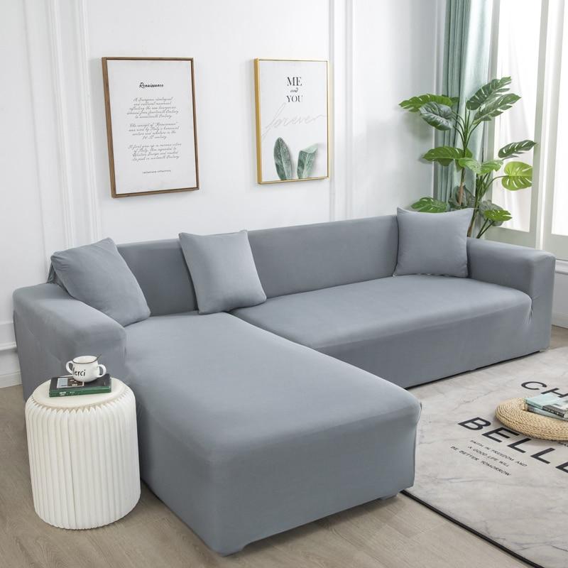 Серый однотонный эластичный чехол для дивана, необходимо заказать 2 чехла для дивана, если L-образные чехлы для диванов с длинным переплетен...