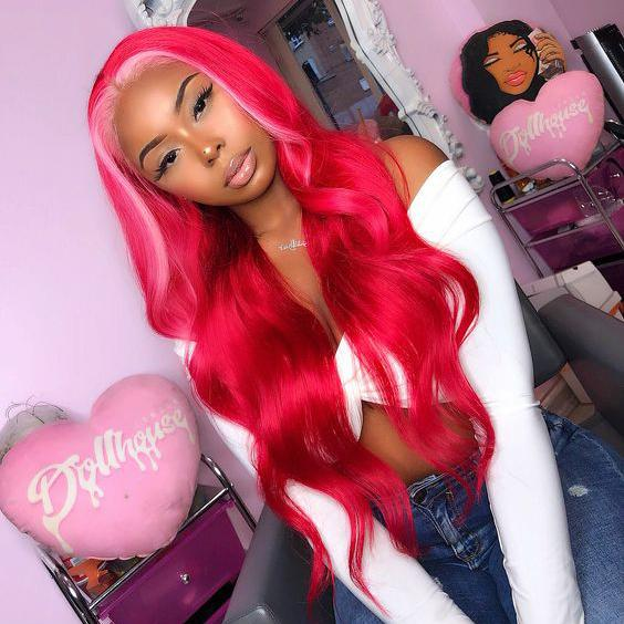 Ombre Wig Red Highlight Pink Body Wave & Straight Virgin Human Hair Lace Front Wig With Baby Hair 180 Density