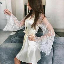 Plus Size Womens Sexy Sleepwear V-neck Bandage Lace Sleeve Dress Ladies Long Bathrobe Night Gown Robe M-3XL