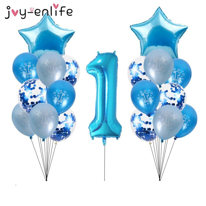 Синие латексные воздушные шары на первый день рождения мальчика-0