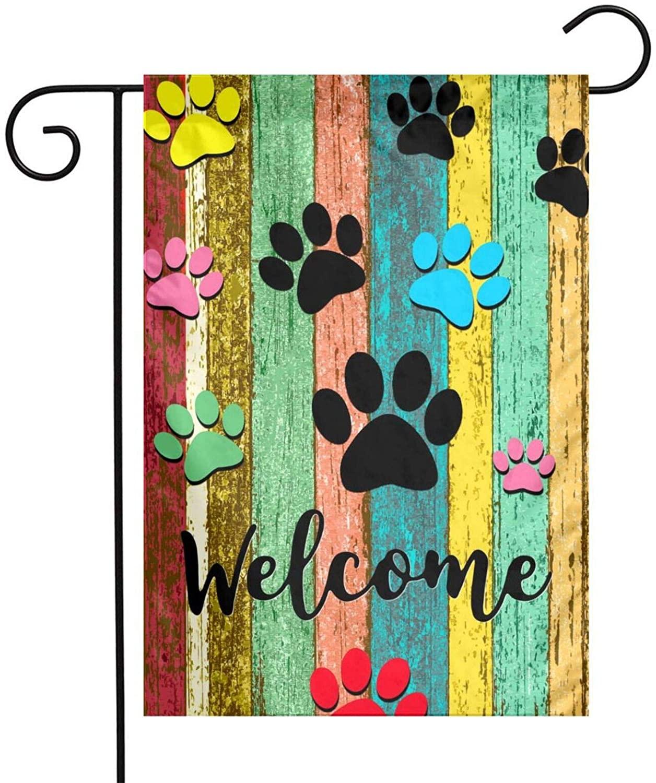 Симпатичная собачья лапа Добро пожаловать садовый баннер цветная деревянная стена дизайн прочный Двусторонний двор наружное украшение 12x18