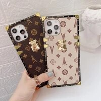 fashion square leather phone case for iphone 11 12 pro max xs max xr 7 8 plus se luxury geometric cover for samsung s20 10 coque