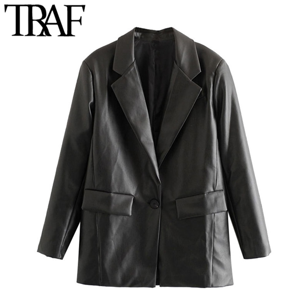 TRAF Women Fashion PU Faux Leather Loose Blazer Coat Vintage Pockets Long Sleeve Back Vents Female O