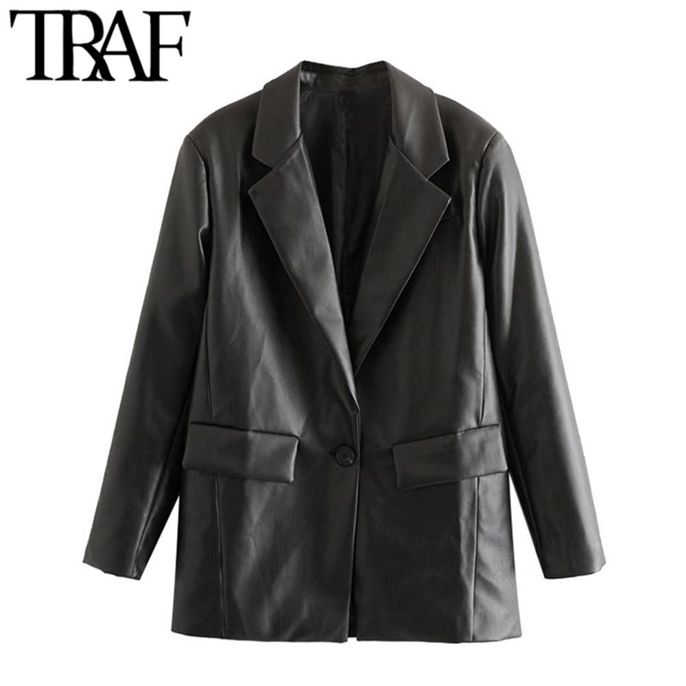 TRAF-معطف نسائي من الجلد الصناعي PU ، فضفاض ، عتيق ، جيوب ، أكمام طويلة ، فتحات في الظهر ، ملابس خارجية أنيقة