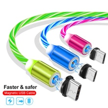 Şarj mıknatıs şarj adaptörü akan ışık manyetik mikro samsung USB kablosu tip-c şarj telefon kablosu 8 pin