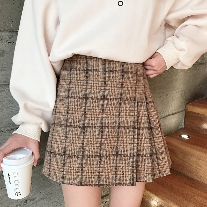 Woolen Plaid Pleated Skirts Shorts 2019 New Autumn Winter Female High Waist Skirt Shorts For Women Mini Shorts Skirt Large Size