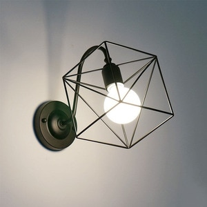 Lamp Restaurant Home Decoration Personality Corridor Wall Lamp Shop Iron Art Simple Quadrilateral Wall Hanging Lamp