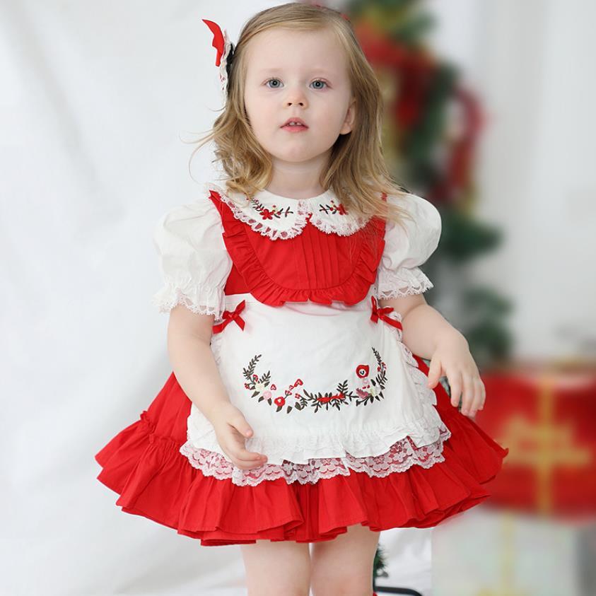 2021 الصيف الإسبانية الأميرة مقوس دانتيل التطريز طباعة خمر الكرة ثوب حفلة عيد الفصح لوليتا فساتين لفتاة A213